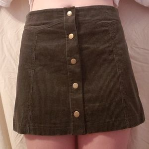Green Courdoroy Snap Front Button Mini Skirt